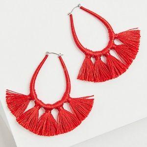 🆕 Red Orange Wrap Tassel Teardrop Earrings